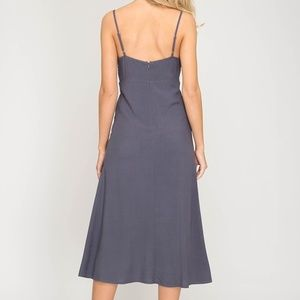 Dresses - Grey Navy Midi Dress